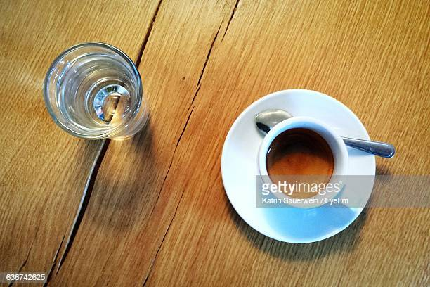 Directly Above View Of Coffee In Cup On Table
