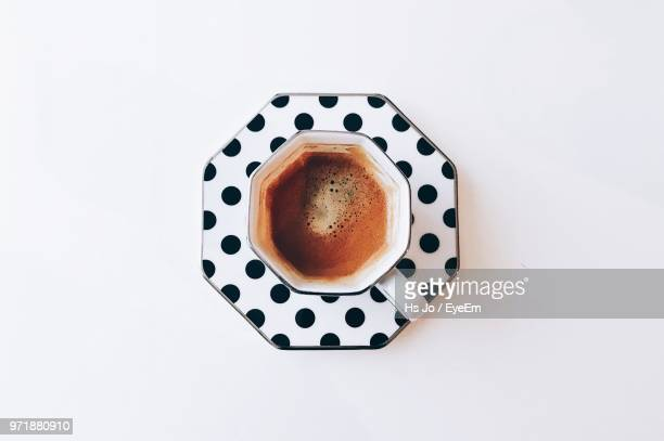 directly above view of coffee over white background - leftovers stock pictures, royalty-free photos & images