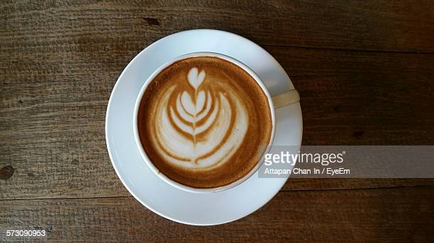 Directly Above View Of Coffee With Latte Art On Table
