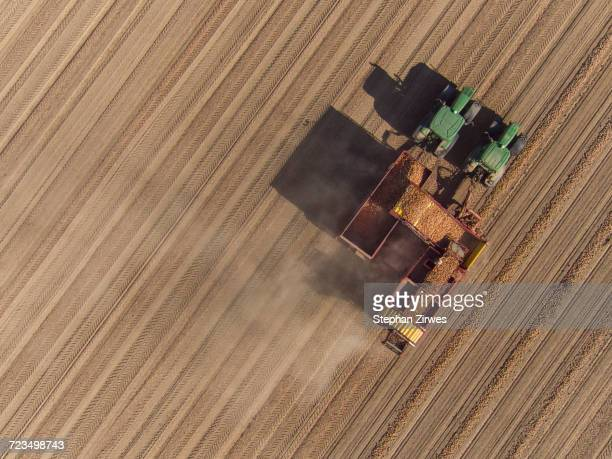 Directly above view of combine harvester in field