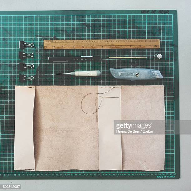 Directly Above View Of Craft Tools On Cutting Mat