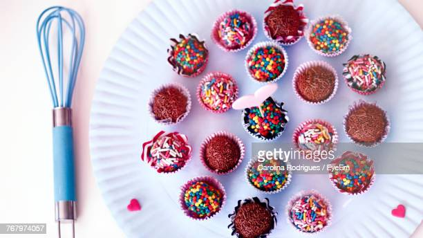 Directly Above View Of Cupcakes In Plate On Table