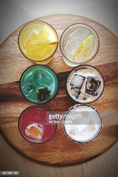 Directly Above View Of Different Juices