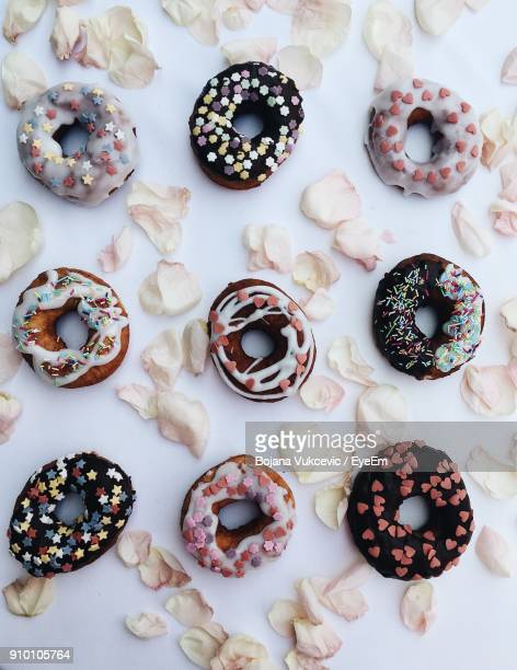 Directly Above View Of Donuts On Table