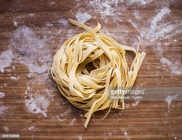 Directly Above View Of Fettuccine Pasta On Table