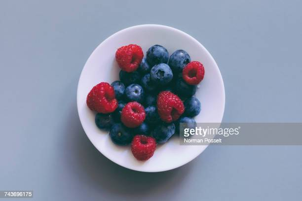 Directly above view of fresh berry fruits in bowl on gray background