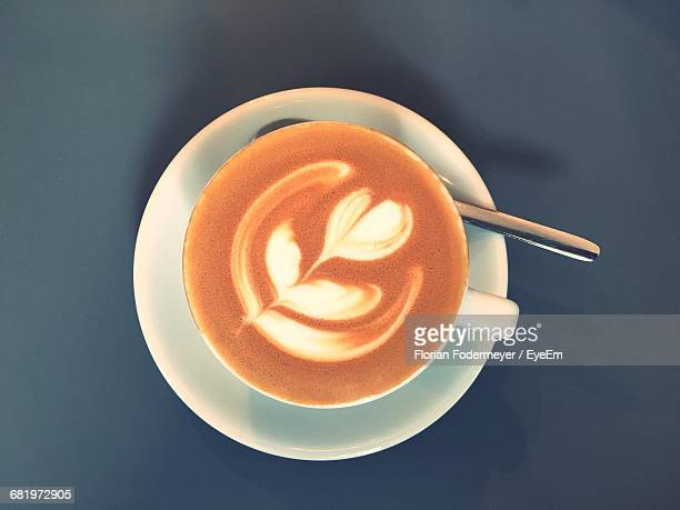 Directly Above View Of Fresh Coffee Served On Table