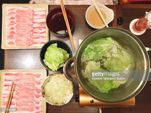 directly above view of fresh food on table - koukichi koukichi stock photos and pictures