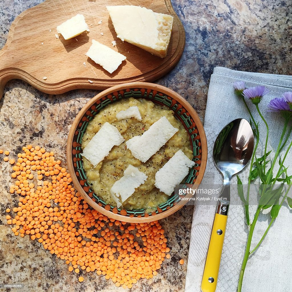 Directly Above View Of Fresh Lentil Soup With Parmesan Cheese : Stock Photo