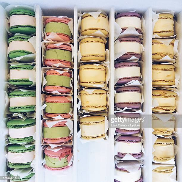 Directly Above View Of Fresh Macaroon Ice Cream Sandwiches