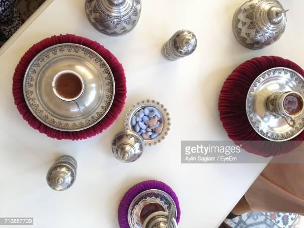 Directly Above View Of Fresh Turkish Tea Served With Food In Bowl On Table
