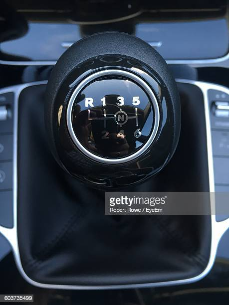 Directly Above View Of Gearshift In Luxury Car