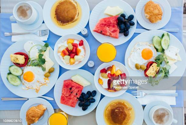 Directly above view of healthy breakfast in tourist resort hotel