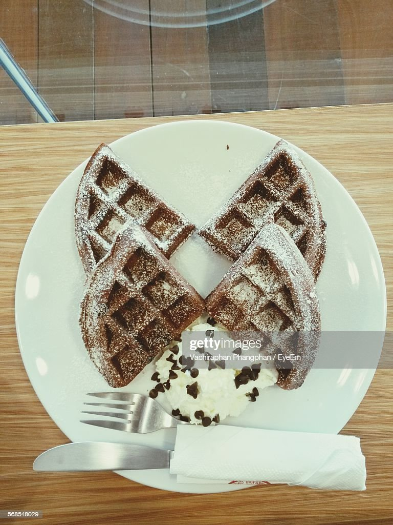 Directly Above View Of Ice Cream With Waffles In Plate On Table : Stock Photo