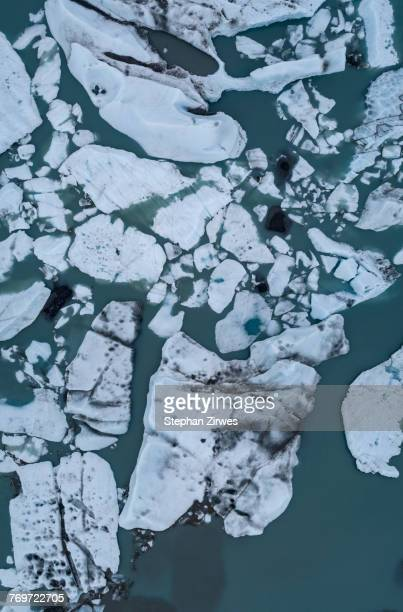 Directly above view of icebergs in lagoon, Knik Glacier, Palmer, Alaska, USA