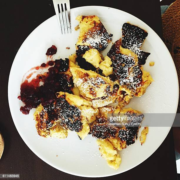 Directly Above View Of Kaiserschmarrn With Apple Sauce In Plate