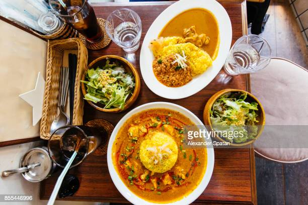 directly above view of lunch with japanese curry and rice - curry stock pictures, royalty-free photos & images