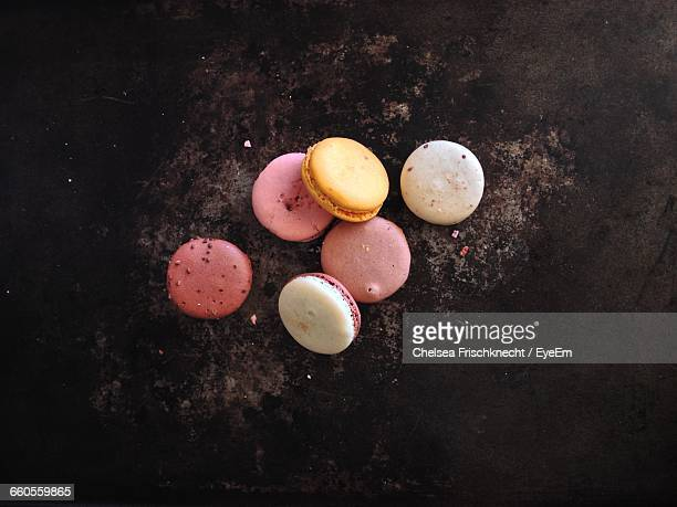 directly above view of macaroons on table - macarons stock photos and pictures