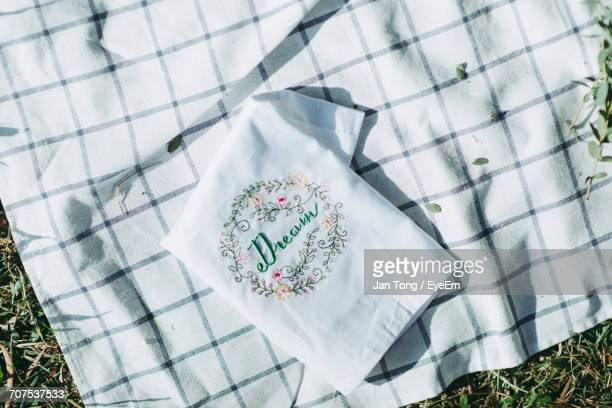 Directly Above View Of Napkin With Text On Picnic Blanket At Park