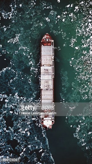 Directly Above View Of Nautical Vessel On Sea