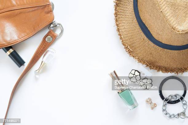 directly above view of objects on white background - strap stock pictures, royalty-free photos & images