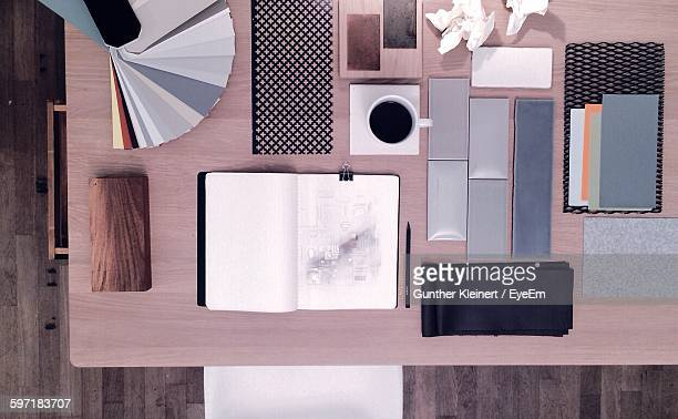 Directly Above View Of Office Supplies On Table