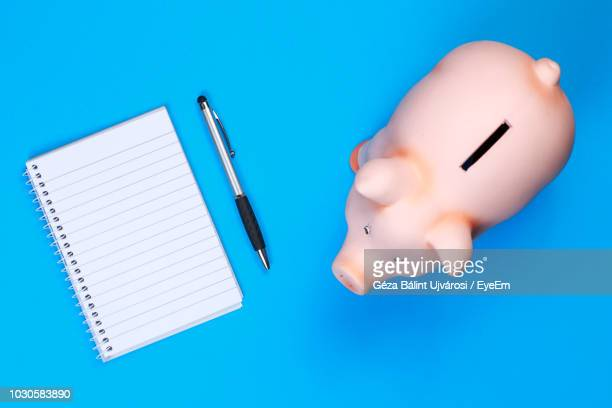 directly above view of piggy bank by pen and book over blue background - spiralblock stock-fotos und bilder