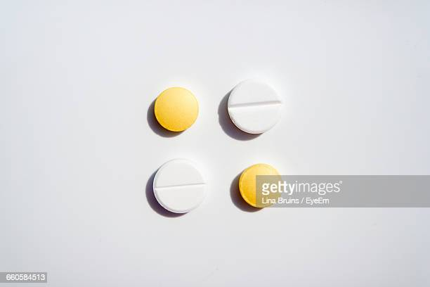 Directly Above View Of Pills On White Background