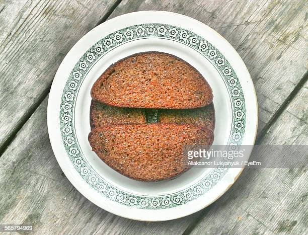 Directly Above View Of Plum Cake Served In Plate
