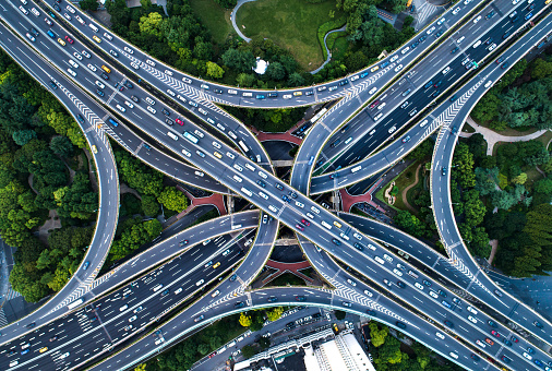 directly above view of road junction in Shanghai - gettyimageskorea