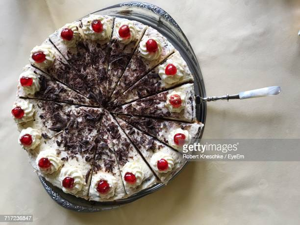 Directly Above View Of Sliced Black Forest Cake In Plate On Table
