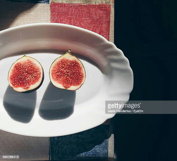 Directly Above View Of Sliced Fig In Plate