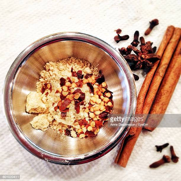 Directly Above View Of Spices In Bowl On Table