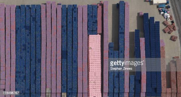 Directly above view of stacked containers at railway yard, Dortmund, North Rhine-Westphalia, Germany