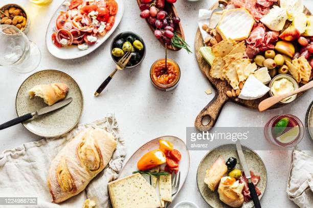 directly above view of tapas - antipasto stock pictures, royalty-free photos & images