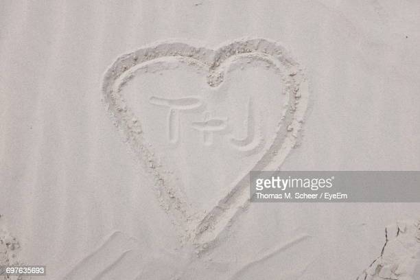 Directly Above View Of Text In Heart Shape On Sand At Beach