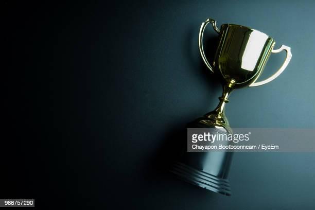 directly above view of trophy on black background - award stock pictures, royalty-free photos & images