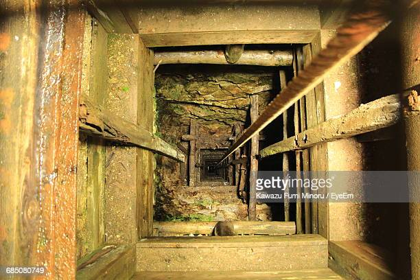 directly above view of tunnel at abandoned gold mine - gold mining stock photos and pictures
