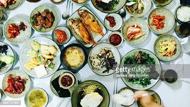 Directly Above View Of Various Korean Food On Table