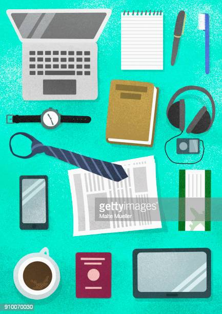 Directly above view of various objects on turquoise background