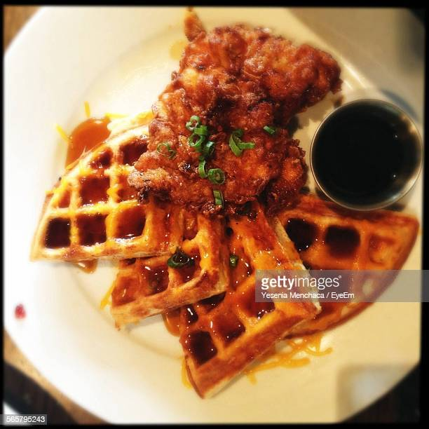 Directly Above View Of Waffle Chicken With Sauce