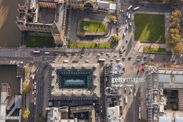 Directly above view of Westminster Bridge and Big Ben, London, England, UK