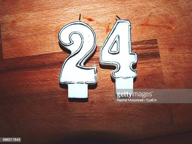 Directly Above View Of White Birthday Candles On Wood