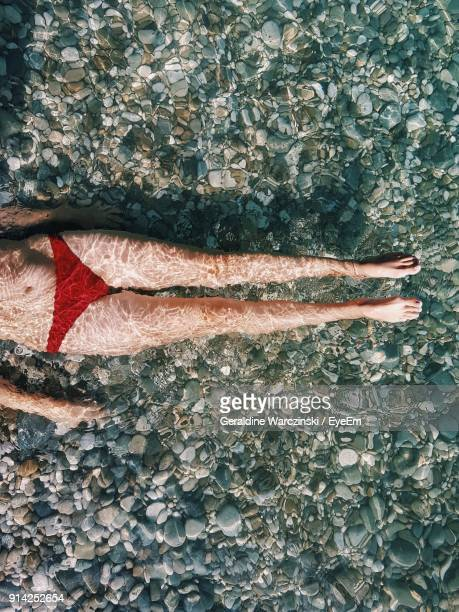 directly above view of woman swimming in lake - lake bottom stock photos and pictures