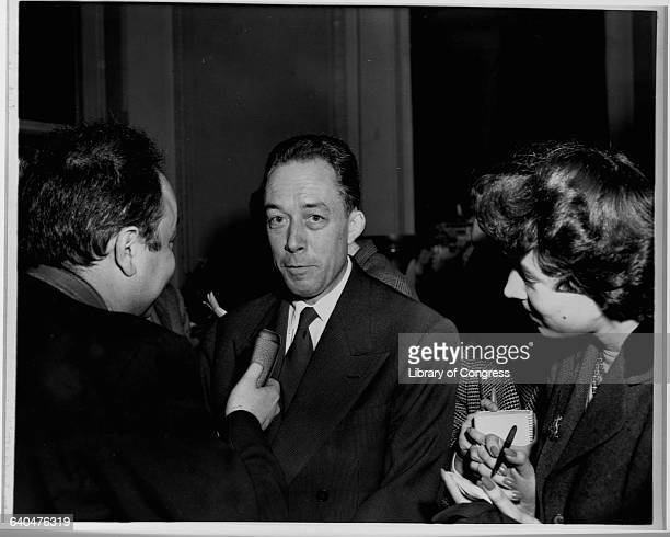 Directly after winning the Nobel Prize in 1957 here writer Albert Camus is giving an interview