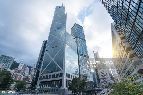 directly below of modern financial skyscrapers in central hong kong - bank financial building stock pictures, royalty-free photos & images