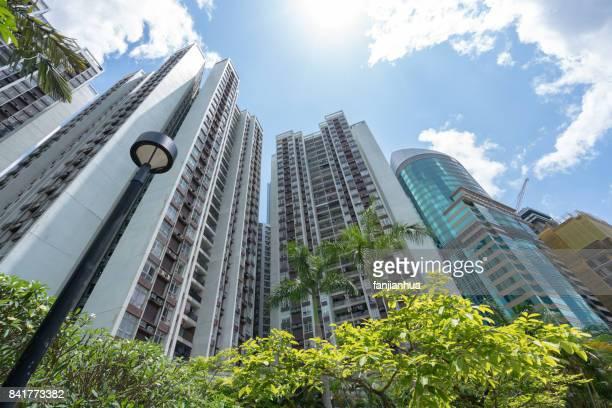 directly below of wealthy residential blocks in central Hong Kong