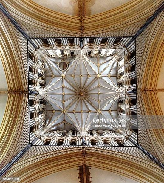 Directly Below Shot Of Ceiling In Lincoln Cathedral