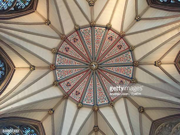 directly below shot of ceiling in york minster - york minster stock photos and pictures
