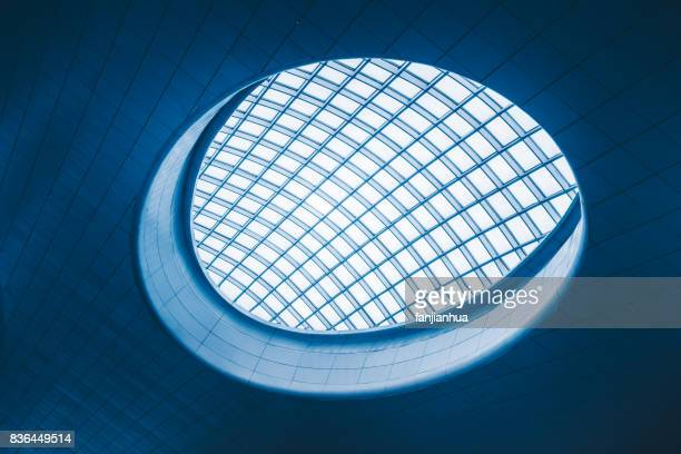 Directly Below Shot Of glass Skylight in Hangzhou east railway station